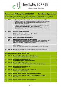 Termin- und Prüfungsplan Abitur 2019 / 2020
